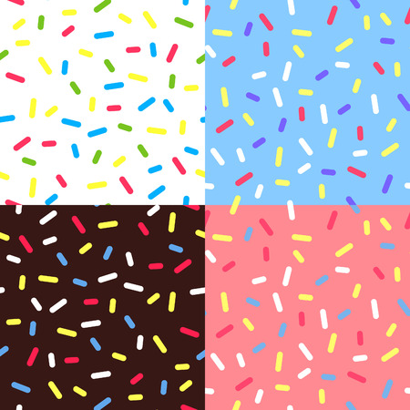 Set of  Colorful Glaze Backgrounds. Seamless Pattern with Sprinkles. Donut Glaze Illustrations. Sweet Food Texture. Random Confetti Bg.