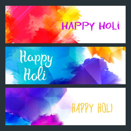 Happy Holi Bright Banners with Colorful Paint Splashes. Indian Traditional Party Illustration. Vettoriali