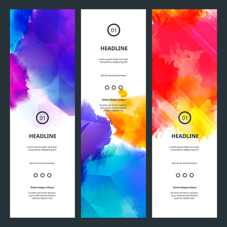 colorful: Bright Colorful Banners with Watercolor Splashes. Abstract Holi Paint Texture. Rainbow Colored Banner Design.