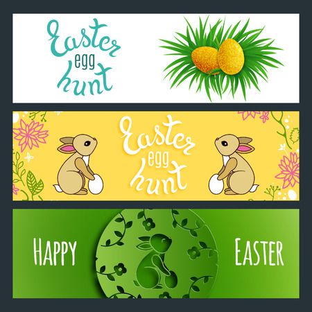 coney: Set of Awesome Cute Easter Banners with Rabbits and Eggs. Easter Egg Hunt Game Posters. Illustration