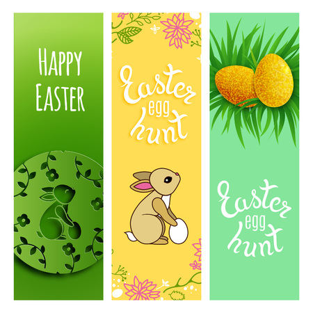 gold eggs: Cute Cartoon Easter Vertical Banners. Rabbits, Gold Eggs in Grass and Lettering Text. Awesome Holidays Cards.