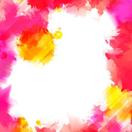 abstract pink: Colorful Red and Yellow Paint Splashes. Indian Holi Festival Background. Watercolor with Place for Your Text.