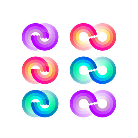 signs and symbols: Isolated Colorful Endless Symbols Set. Gradient Colored Signs.
