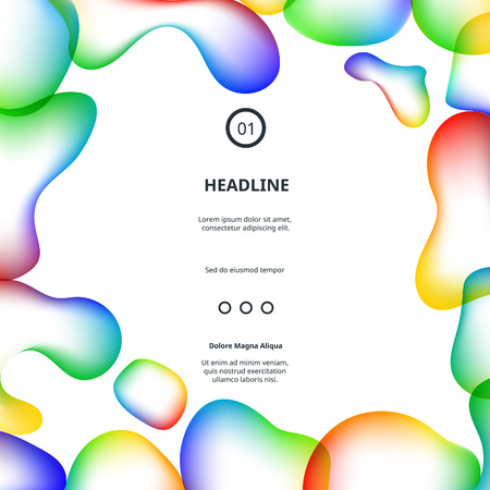 wavy background: Colorful Modern Poster with Bubbles Frame. Abstract Frame. Rainbow Background with Bubbles Shapes.