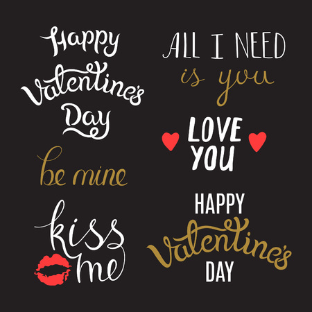 phrases: Awesome Lettering Phrases on St. Valentines Day. Typography Set foe Cards, and Holiday Greetings.