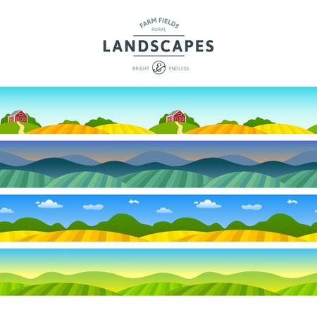 paisagem: Jogo de campo Paisagens Campos. Visualizações horizontais rurais. Agricultura na vila Ilustrações para banners e embalagens.