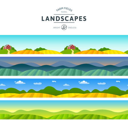 fields: Set of Farm Fields Landscapes. Rural Horizontal Views. Agriculture in Village Illustrations for Banners and Packaging.