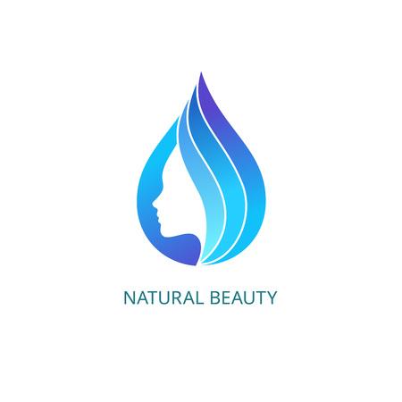 Cara femenina hermosa en la gota con las ondas. Plantilla Logo Vector. Resumen empresa concepto de salón de belleza, peluquería, masaje, Estética y Spa.