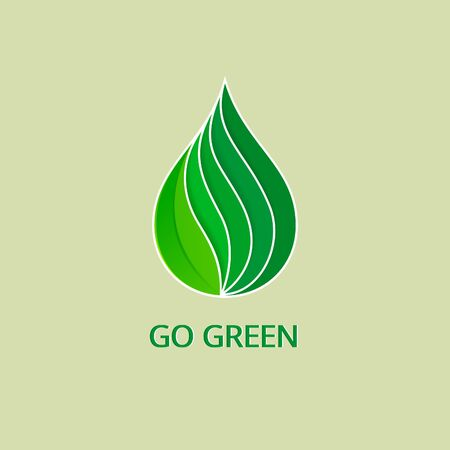 leaf water: Green Drop with Waves and Leaf. Organic Logo Concept. Abstract Eco Water Icons, Business Logotype Nature Green Concept. Clean Modern Geometric Design.