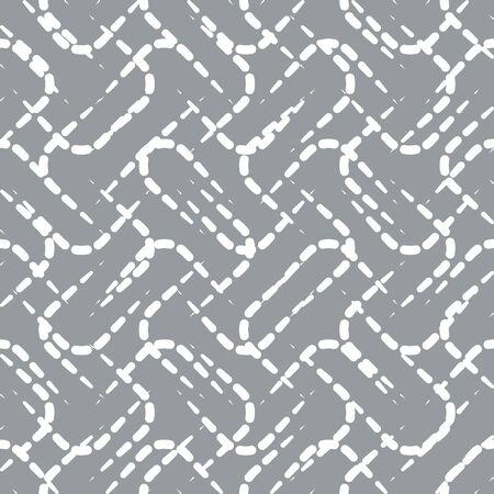 Abstract Vector Pattern Seamless blanc lignes pointillées sur Fond gris. Aléatoire Fond Decorative Design