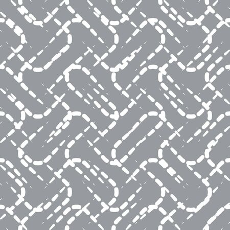 random pattern: Abstract Vector Seamless Pattern with White Dotted Lines on Gray Background. Random Decorative Background Design