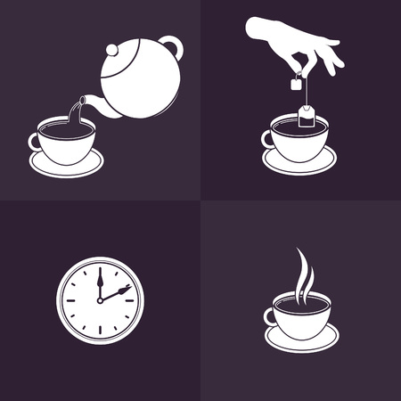 brewing: Vector Illustration of Brewing Tea. Isolated Icons for Infographics and Tea Packaging Instructions. Illustration