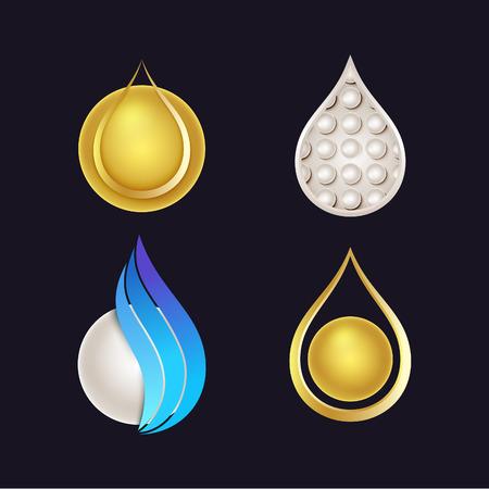packaging industry: Set of Beautiful Cosmetics Logos. Vector Shiny Drops for Cream, Serum or Gel Packaging Design.