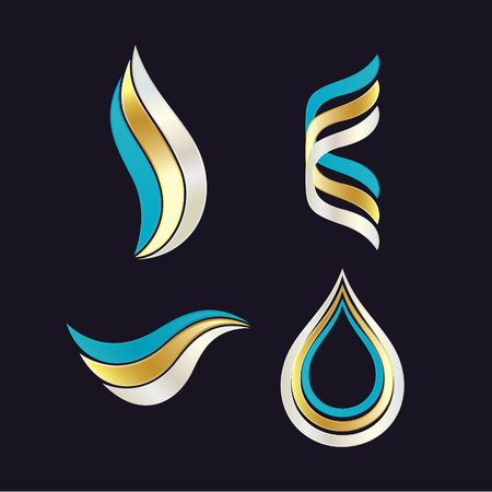 Beautiful Set of Cosmetics Logos. Vector Symbols with Waves. Beauty Products Packaging Designs.  イラスト・ベクター素材