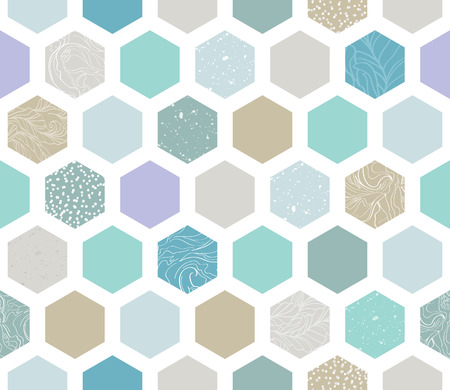 pastel colored: Elegant Seamless Pattern with Pastel Colored Textured Hexagons. Vector Background Design. Decorative Graphic Illustration. Illustration