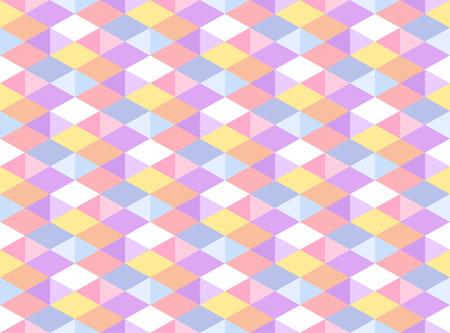 bg: Vector Pastel Colored Geometric Seamless Pattern. Isometric Carnival Party Background. Kaleidoscope Faceted Texture Illustration