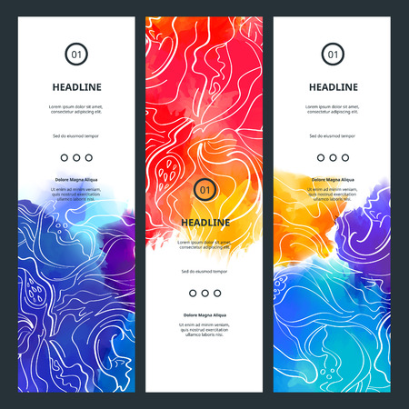 Awesome Banners with Colorful Splashes. Vector Watercolor Backgrounds. Abstract Holi Paint Design with Flowers. Festival Posters Concept.