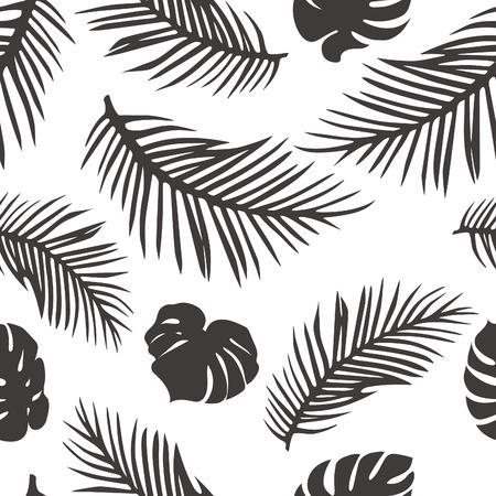 Feuilles de palmier isolé sur blanc. Motif continu avec Palm et Monstera feuilles. Vector Background Tropical. Tropic Palm Shapes Silhouette. Vecteurs