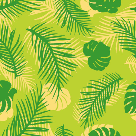 Vector Seamless Pattern with Tropical Leaves. Green Palm ang Monstera Leaves on Bright Background. Illustration