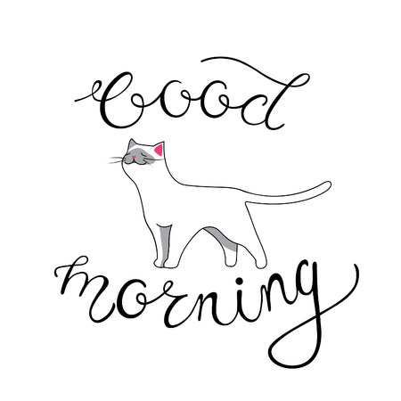 siamese cat: Good Morning Card with Hand Lettering Phrase and Smiling Siamese Cat Isolated on White Background. Beautiful Vector Banner with Calligraphy.