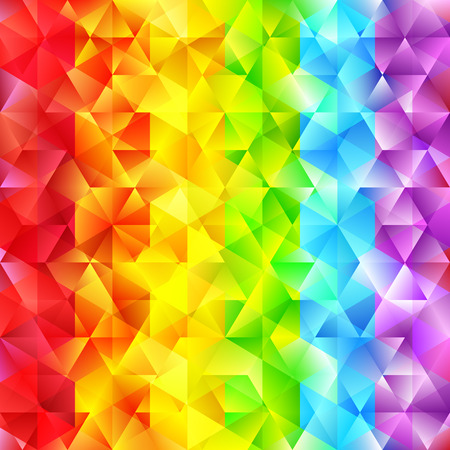 iridescent: Abstract Faceted Geometric Shiny Background. Vector Rainbow Colored Diamond. Sparkling Beautiful Backdrop with Triangles. Glowing Spectrum Stripes. Illustration