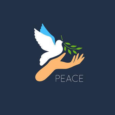 white letters: White Dove Vector Icon with Olive Branch and Hand. Peace Symbol. Pigeon Isolated Logo. White Flying Bird Emblem. Flat Dove Sign.