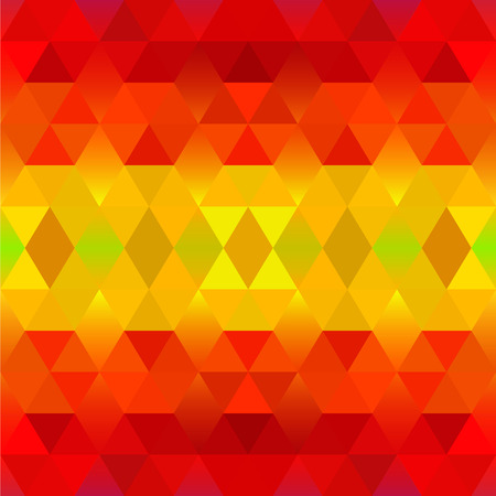 bg: Bright Red and Yellow Geometric Pattern with Triangles and Rhombus. Vector Ethnic Background. Tribal Gradient  Texture.