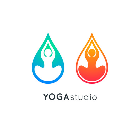 Lotus Yoga Pose Icon. Vector Yoga Meditation Symbol. Human Sitting in Lotus Pose. Relax Asana Illustration. Silhouette in Drop Shape.