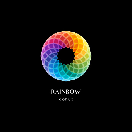 wafer: Vector Abstract Logo Symbol. Circle Rainbow Colored Icon in Shapes of Donut. Round Design Element.