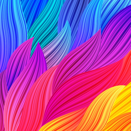 bg: Bright Rainbow Colored Background with Waves. Abstract Colorful Exotic Bg. Floral Spectrum Pattern. Vector Texture for Posters, Screens, Web Banners.