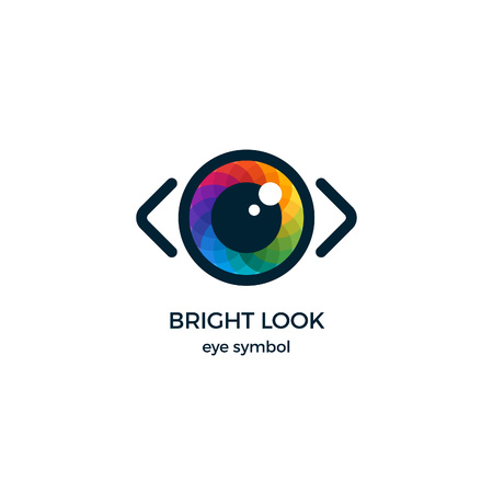 Eye Symbol Vector Design. Colorful Template Business Logo Concept. Digital Vision Icon.