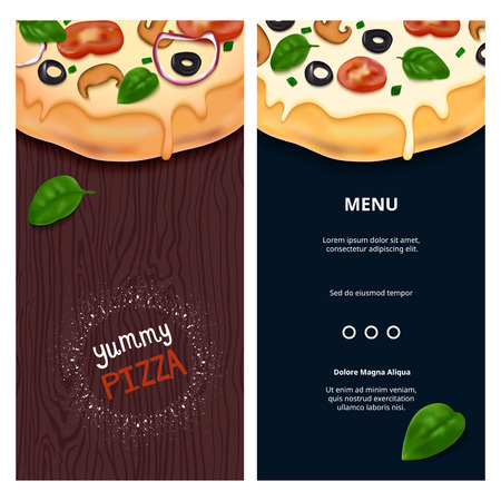 table top: Vector Delicious Pizza on Wooden Table Top View. Tasty Fast Food Snack on Background. Pizza Illustration for Banners, Flyers and Menu.