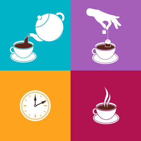 brewing: Instructions of Brewing Black Tea in Tea Bags. Vector Infographic. White Easy Symbols on Colorful Backgrounds. Information for Tea Package Design. Tea Beverage Brewing Guide. Illustration