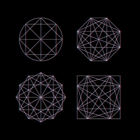 esoterics: Abstract Geometric Symbols on Black Background. Symmetrical Abstract Compositions of White Dotted Lines. Modern Graphic Design for Decorations, Cards, Posters and T-shirt Prints.