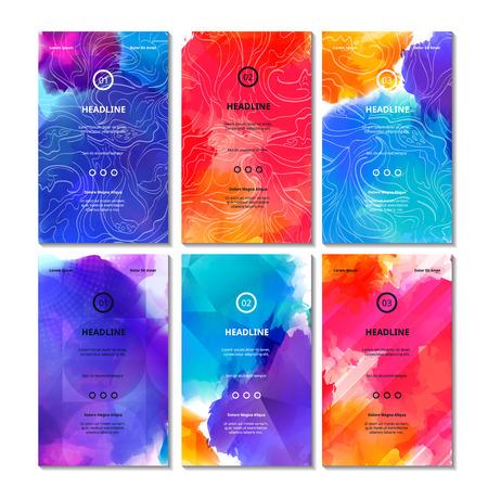 leuchtend: Satz von hell farbigen Karten. Vector dekorative Hintergründe. Vibrant Bg Textur für Visitenkarten, Web-Banner, Einladungskarten, Party Poster und Werbung Flyer.