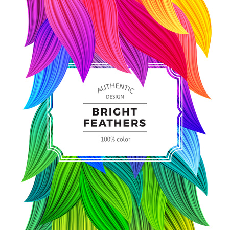 copy spase: Bright Colorful Carnival Background. Exotic Summer Frame. Vector Vibrant Feathers Illustration. Crazy Rainbow Leaves Isolated on White.
