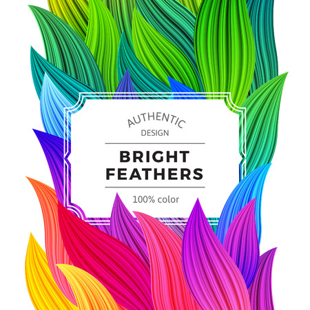 Celebration Background with Vibrant Colorful Feathers. White Frame on Rooster Tail Illustration. Vector Party Poster. Abstract Rainbow Banner.  イラスト・ベクター素材