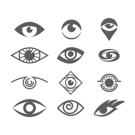 Vector Eyes Set Isolated on White. Eye Logo Concept. Eye Symbol Design Vector Template. Vision Logotype Concept Idea. Optical Eye Shapes. Ilustração