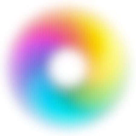bg: Abstract Blurred Rainbow Ring Isolated on White Background. Vector Colorful Circle. Bright Donut Illustration. Modern Decorative Bg for Flyers Layout, Banners, Night Party or Musical Poster. Illustration