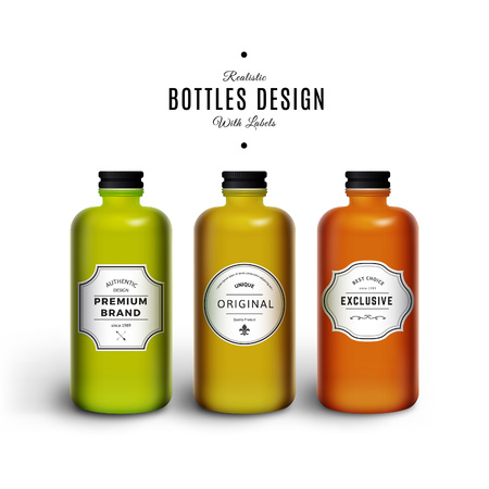 packaging design: Realistic Colorful Vector Bottles with Vintage Labels. Product Packaging Design. Plastic Container Mock Up.