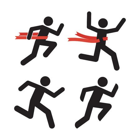 Ejecutar hombre icono. Silueta corriente del hombre aislado en blanco. Ilustración del corredor de maratón. Retransmitir Símbolo Ganador de la carrera. Ejecución de los hombres con la cinta roja. Corredor cruza una cinta roja. Figura corriente del pictograma.