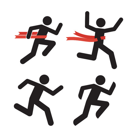 Run Man Icon. Running Human Silhouette Isolated on White. Marathon Runner Illustration. Relay Race Winner Symbol. Running Men with Red Ribbon. Runner Crosses a Red Ribbon. Running Figure Pictogram. Illustration