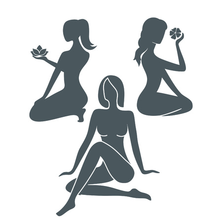 fullbody: Set of Beautiful Female Sitting Silhouettes with Flowers. Vector Logo Template. Abstract Business Concept for Beauty Salon, Barber Shops, Massage, Cosmetic, Spa or Yoga Centers.