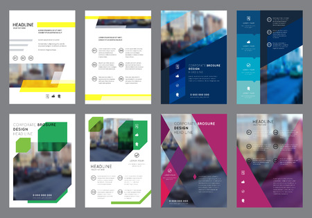 Vector Colorful Flyers Design Template. Vertical Geometric Brochure Layout Concepts. Leaflet Cover Presentation. Abstract Flat Background.
