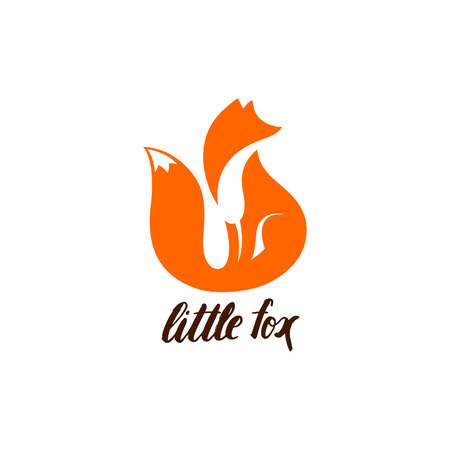 zoo cartoon: Negative Space logo with Sitting Fox. Orange Fox Silhouette. Fox Icon. Fox Symbol. Fox Sign Isolated on White Background. Cute Animal Illustration.