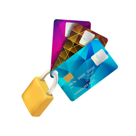 secure payment: Padlock and Plastic Credit Cards. Concept of a Safe Payment. Vector Illustration Isolated on White Background. Secure Payment Symbol. Credit Card Protection Realistic Icon.