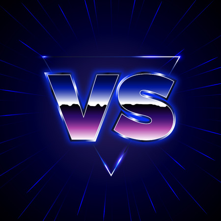 Blue Neon Versus Logo. VS Vector Letters Illustration. Competition Icon. Fight Symbol. 80-s Style Battle Poster.  イラスト・ベクター素材