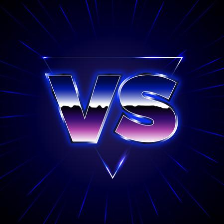 로고 대 블루 네온. VS 벡터 문자 그림. 경쟁 아이콘입니다. 기호 전투. 80의 스타일 전투 포스터.