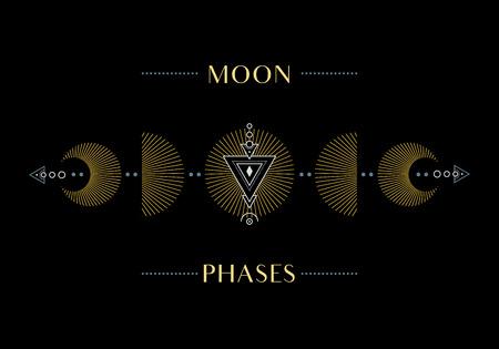 Fazy księżyca. Cykl od nowiu do pełnego. Ilustracja.