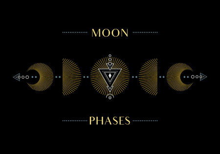 The Phases of the Moon. Cycle from New Moon to Full. Illustration. Ilustração